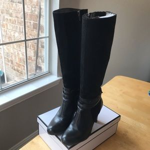 Talbots tall black suede leather boots , size 6